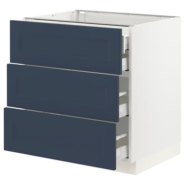 SEKTION / MAXIMERA Base cabinet w 3 fronts/4 drawers, white Axstad/matte blue, 30x24x30 ""