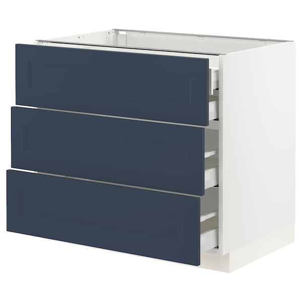 SEKTION / MAXIMERA Base cabinet w 3 fronts/4 drawers, white Axstad/matte blue, 36x24x30 ""