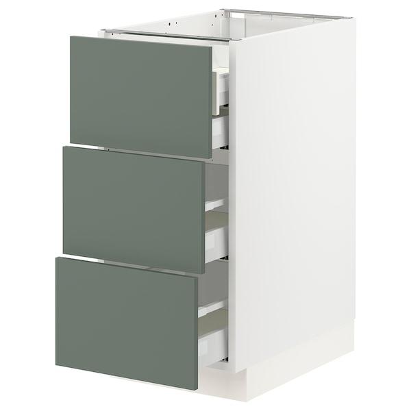"SEKTION / MAXIMERA Base cabinet w/3 fronts & 4 drawers, white/Bodarp gray-green, 15x24x30 """
