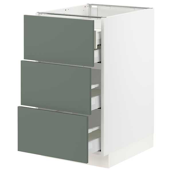 "SEKTION / MAXIMERA Base cabinet w/3 fronts & 4 drawers, white/Bodarp gray-green, 18x24x30 """