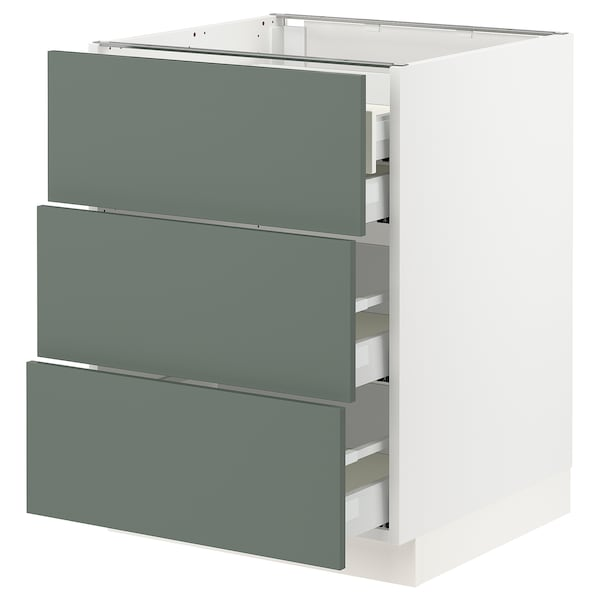 "SEKTION / MAXIMERA Base cabinet w/3 fronts & 4 drawers, white/Bodarp gray-green, 24x24x30 """