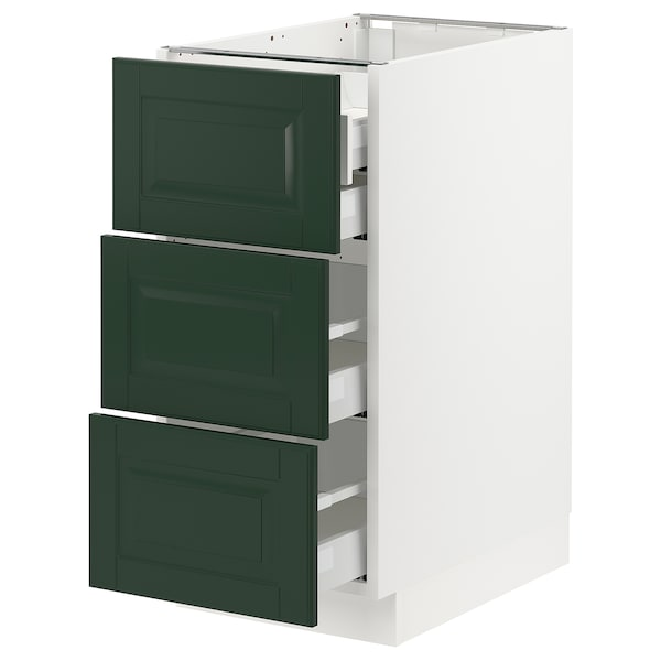 SEKTION / MAXIMERA Base cabinet w/3 fronts & 4 drawers, white/Bodbyn dark green, 15x24x30 ""