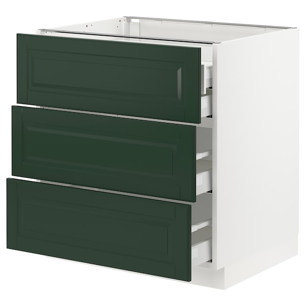 SEKTION / MAXIMERA Base cabinet w/3 fronts & 4 drawers, white/Bodbyn dark green, 30x24x30 ""