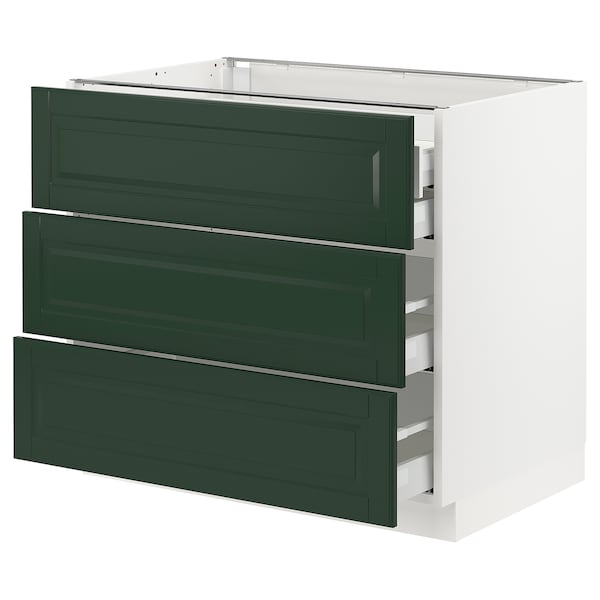 "SEKTION / MAXIMERA Base cabinet w/3 fronts & 4 drawers, white/Bodbyn dark green, 36x24x30 """