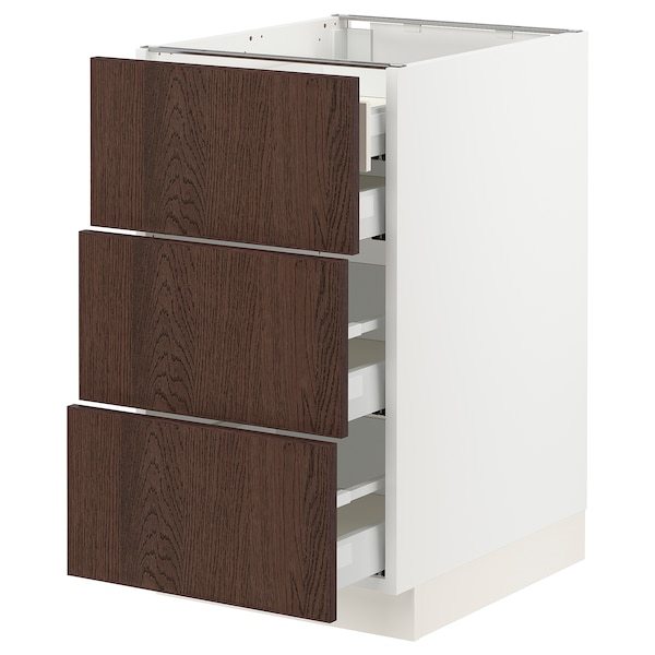 "SEKTION / MAXIMERA Base cabinet w 3 fronts/4 drawers, white/Sinarp brown, 18x24x30 """