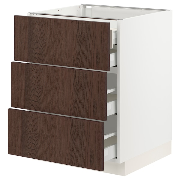 SEKTION / MAXIMERA Base cabinet w 3 fronts/4 drawers, white/Sinarp brown, 24x24x30 ""