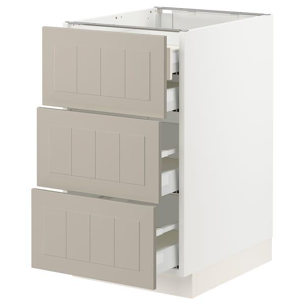 """SEKTION / MAXIMERA Base cabinet w 3 fronts/4 drawers, white/Stensund beige, 18x24x30 """""""