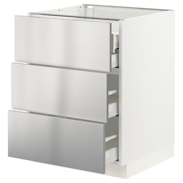 """SEKTION / MAXIMERA Base cabinet w/3 fronts & 4 drawers, white/Vårsta stainless steel, 24x24x30 """""""
