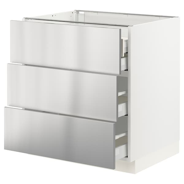 """SEKTION / MAXIMERA Base cabinet w/3 fronts & 4 drawers, white/Vårsta stainless steel, 30x24x30 """""""