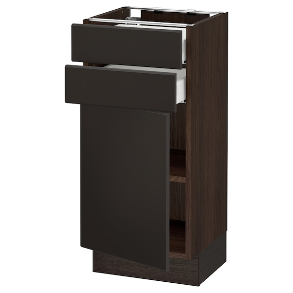 SEKTION / MAXIMERA Base cabinet w door/2 drawers, brown/Kungsbacka anthracite, 15x15x30 ""