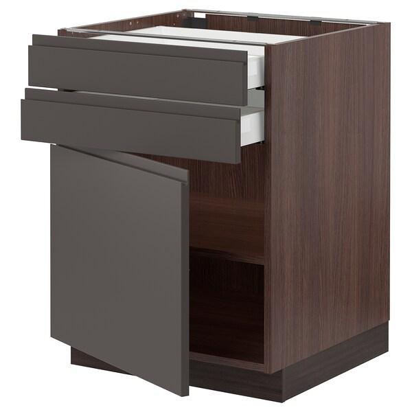 """SEKTION / MAXIMERA Base cabinet w door/2 drawers, brown/Voxtorp dark gray, 24x24x30 """""""
