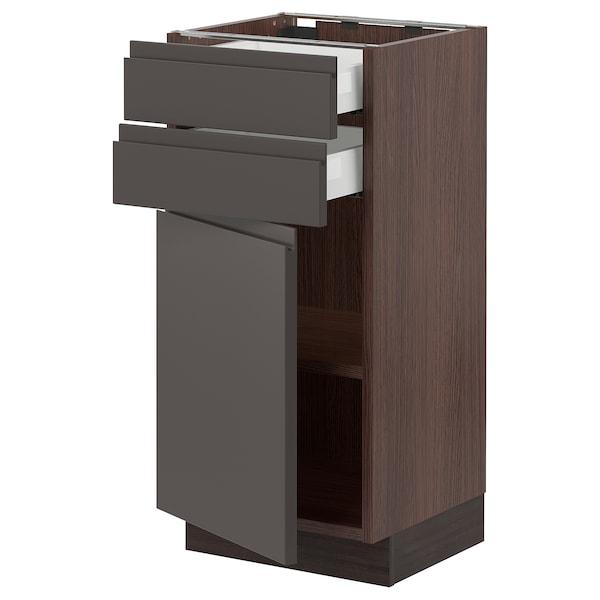 """SEKTION / MAXIMERA Base cabinet w door/2 drawers, brown/Voxtorp dark gray, 15x15x30 """""""