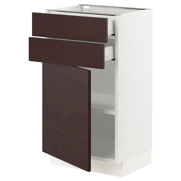 SEKTION / MAXIMERA Base cabinet w/door & 2 drawers, white Askersund/dark brown ash effect, 18x15x30 ""