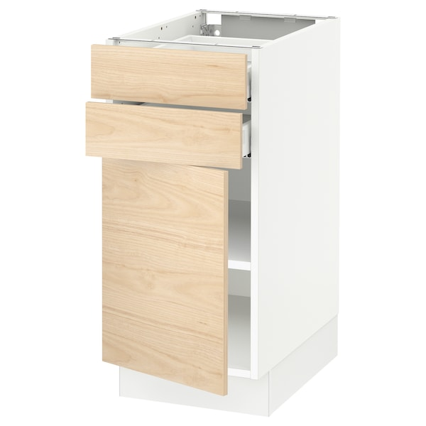SEKTION / MAXIMERA Base cabinet w door/2 drawers, white/Askersund light ash effect, 15x24x30 ""