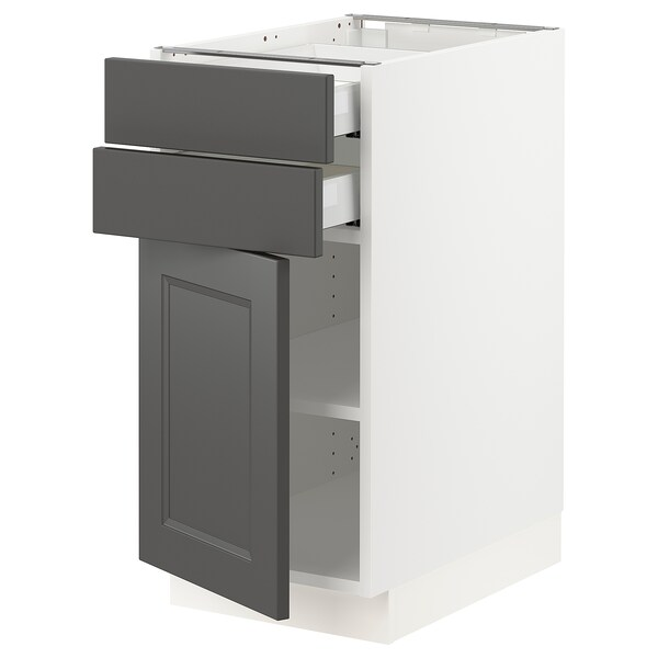 SEKTION / MAXIMERA Base cabinet w/door & 2 drawers, white/Axstad dark gray, 15x24x30 ""