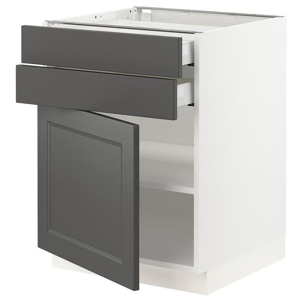 "SEKTION / MAXIMERA Base cabinet w/door & 2 drawers, white/Axstad dark gray, 24x24x30 """