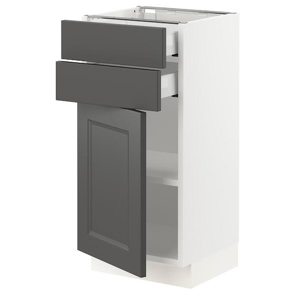 "SEKTION / MAXIMERA Base cabinet w/door & 2 drawers, white/Axstad dark gray, 15x15x30 """