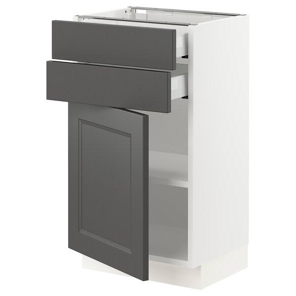 "SEKTION / MAXIMERA Base cabinet w/door & 2 drawers, white/Axstad dark gray, 18x15x30 """