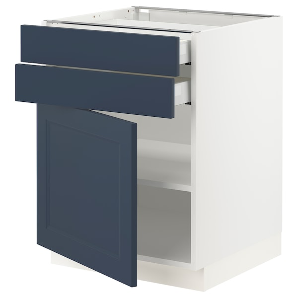 "SEKTION / MAXIMERA Base cabinet w door/2 drawers, white Axstad/matte blue, 24x24x30 """