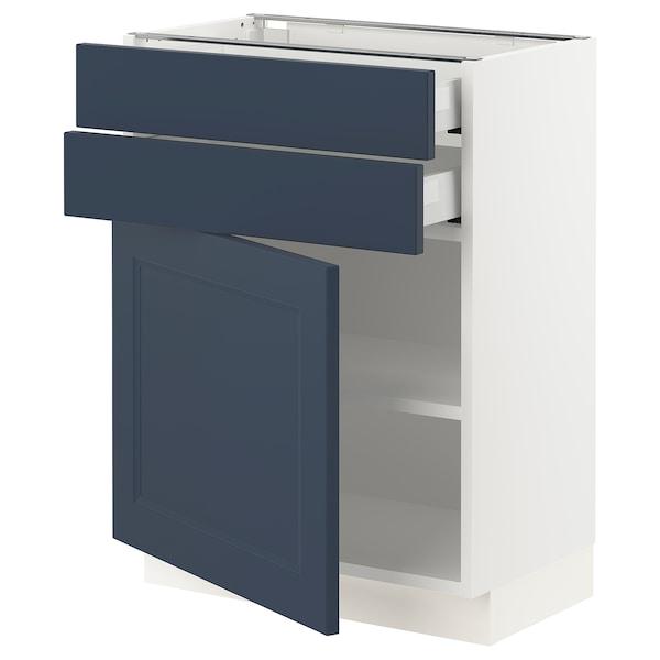 "SEKTION / MAXIMERA Base cabinet w door/2 drawers, white Axstad/matte blue, 24x15x30 """
