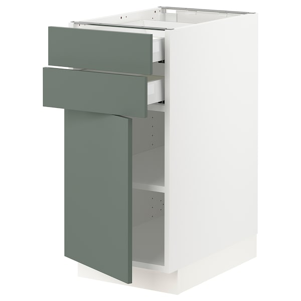 "SEKTION / MAXIMERA Base cabinet w door/2 drawers, white/Bodarp gray-green, 15x24x30 """
