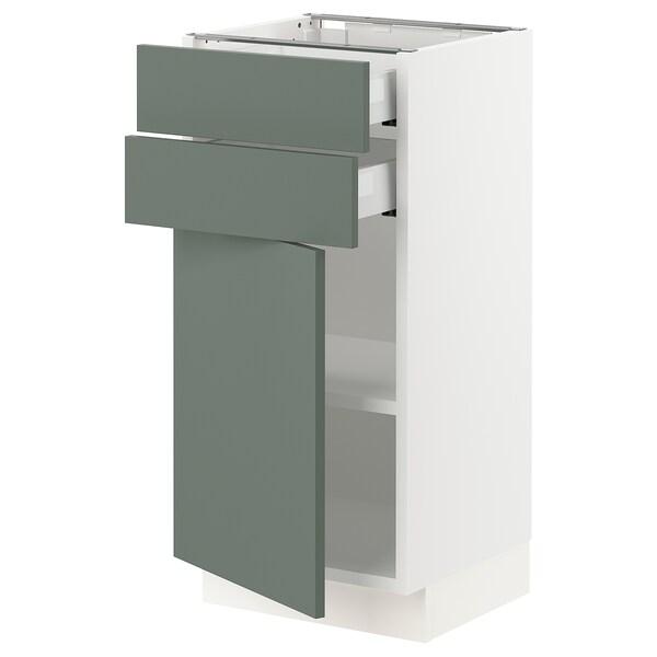 "SEKTION / MAXIMERA Base cabinet w door/2 drawers, white/Bodarp gray-green, 15x15x30 """