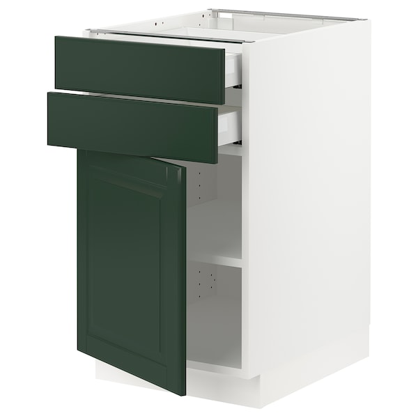 "SEKTION / MAXIMERA Base cabinet w door/2 drawers, white/Bodbyn dark green, 18x24x30 """