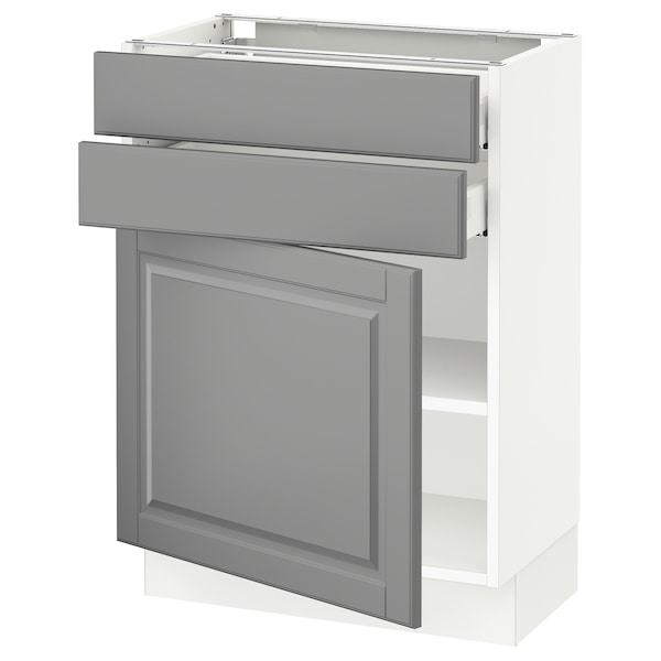 SEKTION / MAXIMERA Base cabinet w door/2 drawers, white/Bodbyn gray, 24x15x30 ""