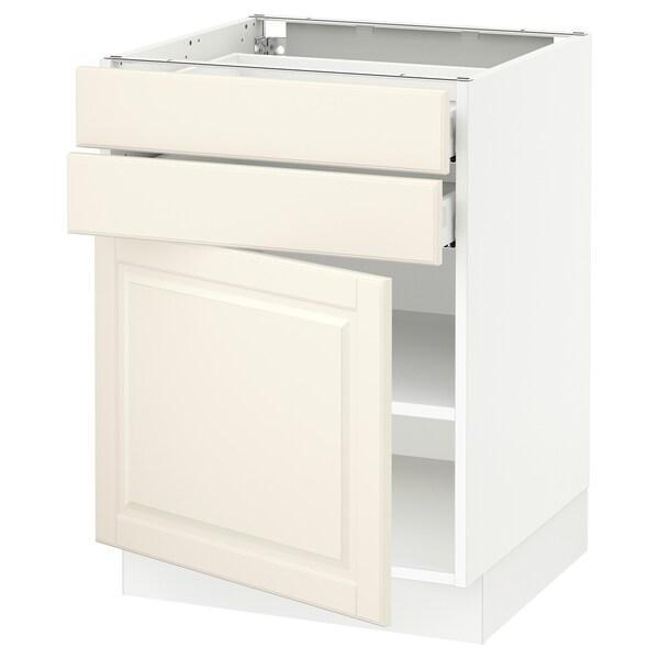 "SEKTION / MAXIMERA Base cabinet w door/2 drawers, white/Bodbyn off-white, 24x24x30 """