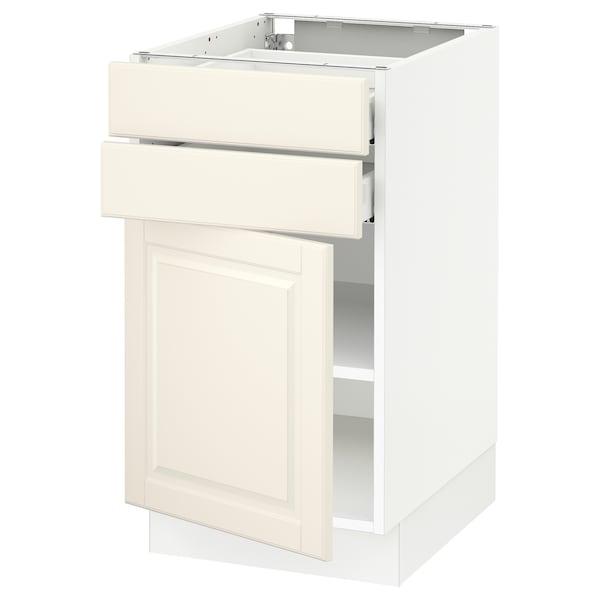 "SEKTION / MAXIMERA Base cabinet w door/2 drawers, white/Bodbyn off-white, 18x24x30 """