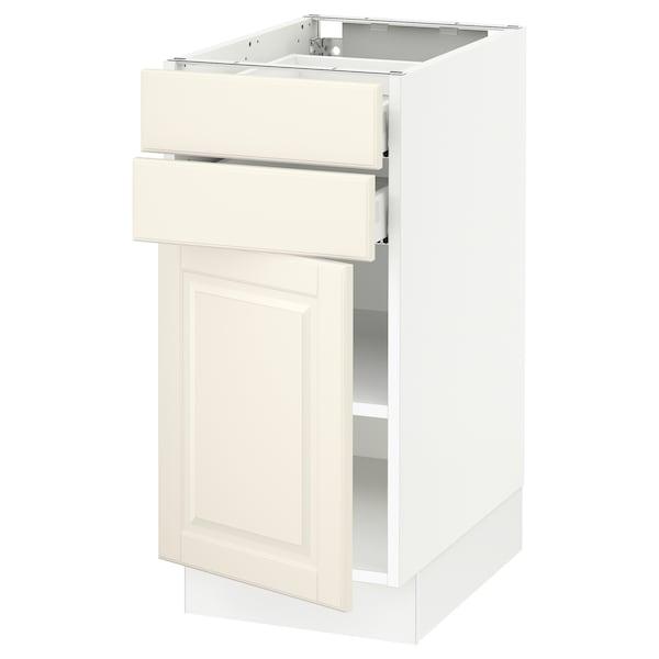 "SEKTION / MAXIMERA Base cabinet w door/2 drawers, white/Bodbyn off-white, 15x24x30 """