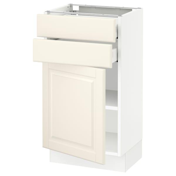 "SEKTION / MAXIMERA Base cabinet w door/2 drawers, white/Bodbyn off-white, 18x15x30 """