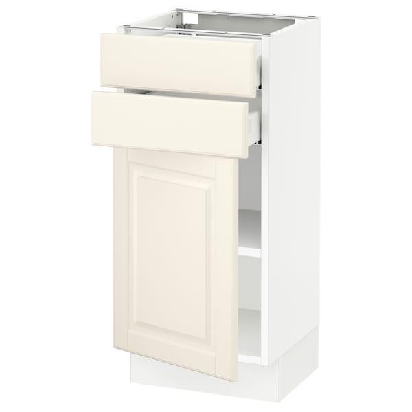 "SEKTION / MAXIMERA Base cabinet w door/2 drawers, white/Bodbyn off-white, 15x15x30 """