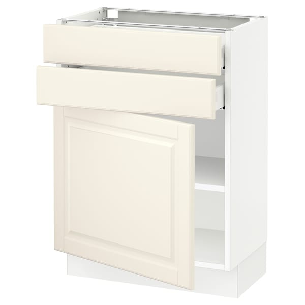 SEKTION / MAXIMERA Base cabinet w door/2 drawers, white/Bodbyn off-white, 24x15x30 ""
