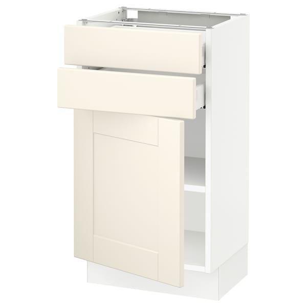 "SEKTION / MAXIMERA Base cabinet w door/2 drawers, white/Grimslöv off-white, 18x15x30 """