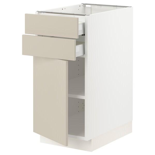 "SEKTION / MAXIMERA Base cabinet w door/2 drawers, white/Havstorp beige, 15x24x30 """