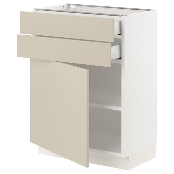 "SEKTION / MAXIMERA Base cabinet w door/2 drawers, white/Havstorp beige, 24x15x30 """