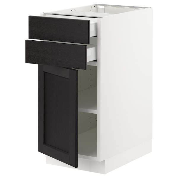 "SEKTION / MAXIMERA Base cabinet w door/2 drawers, white/Lerhyttan black stained, 15x24x30 """