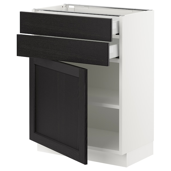 SEKTION / MAXIMERA Base cabinet w door/2 drawers, white/Lerhyttan black stained, 24x15x30 ""