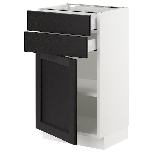"SEKTION / MAXIMERA Base cabinet w door/2 drawers, white/Lerhyttan black stained, 18x15x30 """