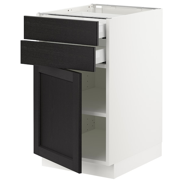 SEKTION / MAXIMERA Base cabinet w door/2 drawers, white/Lerhyttan black stained, 18x24x30 ""