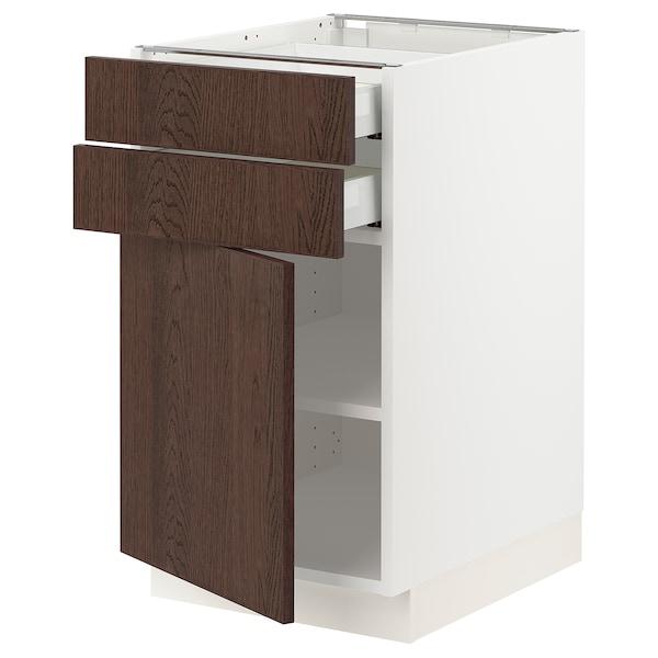 "SEKTION / MAXIMERA Base cabinet w door/2 drawers, white/Sinarp brown, 18x24x30 """