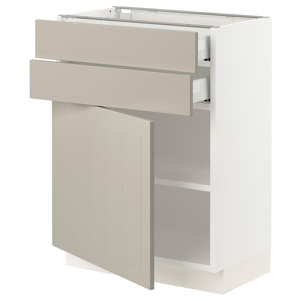 SEKTION / MAXIMERA Base cabinet w door/2 drawers, white/Stensund beige, 24x15x30 ""