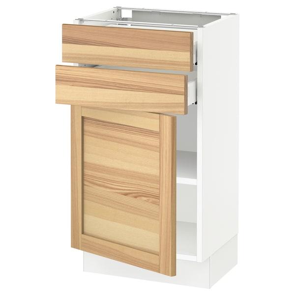 "SEKTION / MAXIMERA Base cabinet w door/2 drawers, white/Torhamn ash, 18x15x30 """