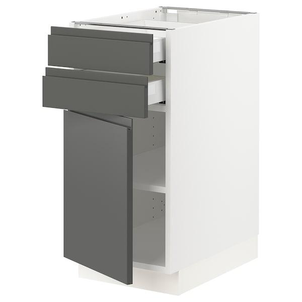 "SEKTION / MAXIMERA Base cabinet w door/2 drawers, white/Voxtorp dark gray, 15x24x30 """