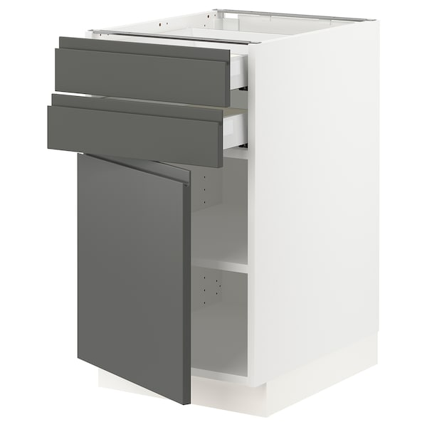 SEKTION / MAXIMERA Base cabinet w door/2 drawers, white/Voxtorp dark gray, 18x24x30 ""