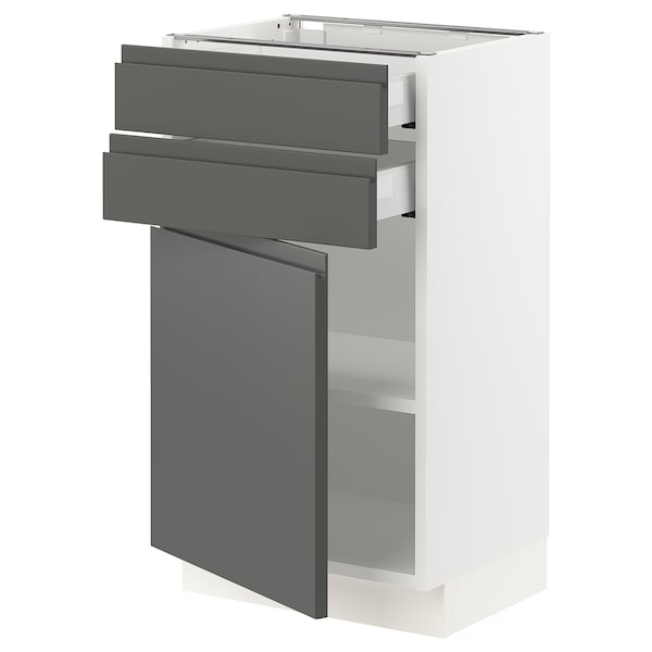 SEKTION / MAXIMERA Base cabinet w door/2 drawers, white/Voxtorp dark gray, 18x15x30 ""