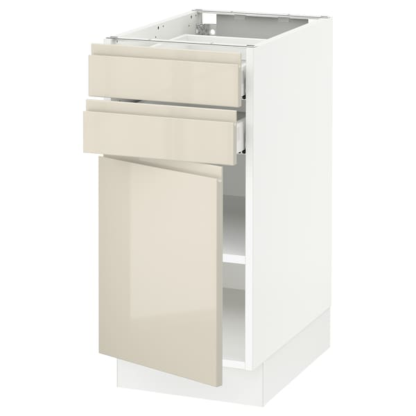SEKTION / MAXIMERA Base cabinet w door/2 drawers, white/Voxtorp high-gloss light beige, 15x24x30 ""