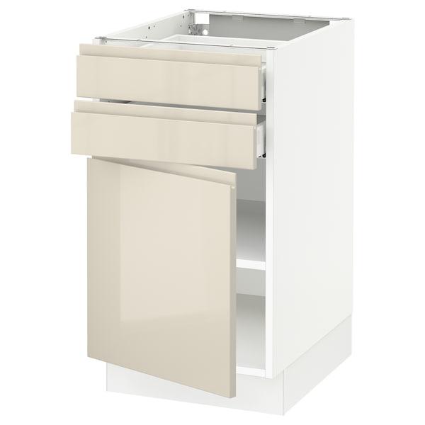 "SEKTION / MAXIMERA Base cabinet w door/2 drawers, white/Voxtorp high-gloss light beige, 18x24x30 """