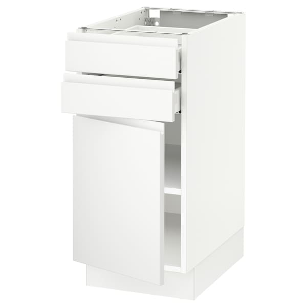 SEKTION / MAXIMERA Base cabinet w door/2 drawers, white/Voxtorp matt white, 15x24x30 ""